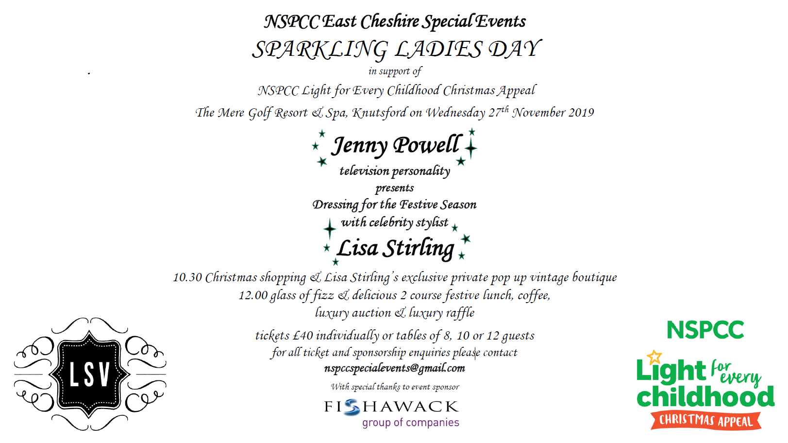 NSPCC East Cheshire Special Events - Sparkling Ladies Day